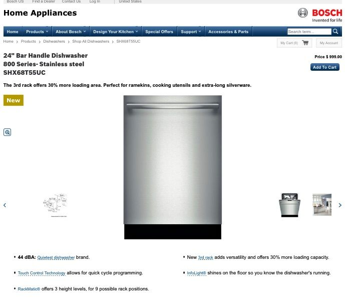Best dishwasher brand EVER!!  http://www.bosch-home.com/us/products/dishwashers/shop-all-dishwashers/SHX68T55UC.html#ReadReview