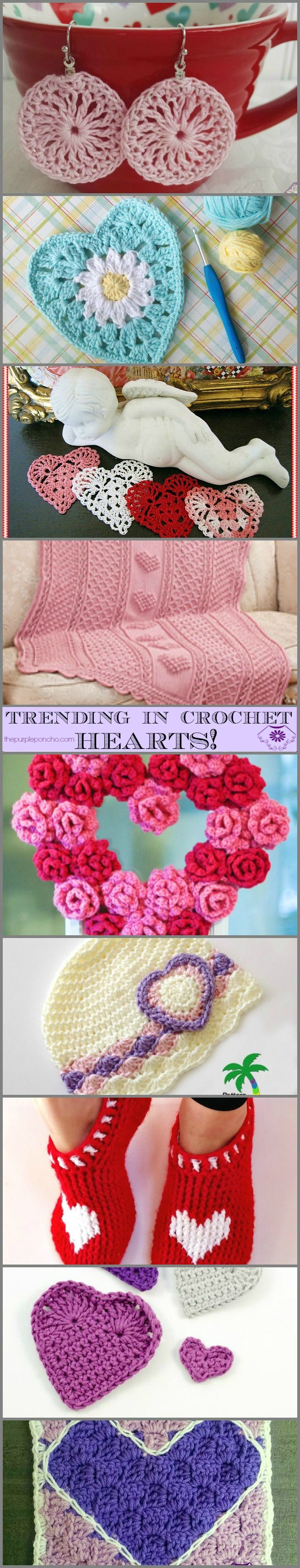 Trending In Crochet – Hearts! on The Purple Poncho! All are Free Crochet Patterns for jewelry, home decor, appliques, and accessories! Great for Valentine's Day.