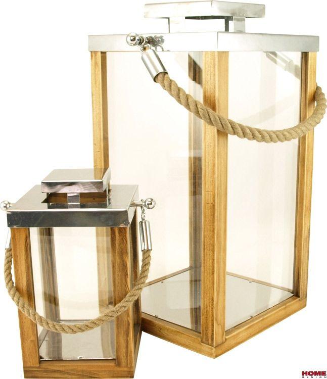 HOME Design :: Zestaw lampionów minimalistycznych Simple drewno metal  50cm, 26cm (D60770)