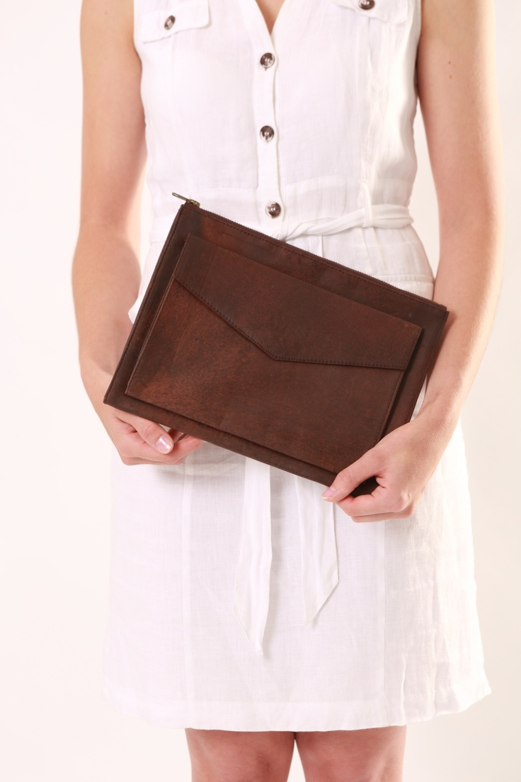 Leather Clutch. Distressed Brown. apostrophe' studio designs