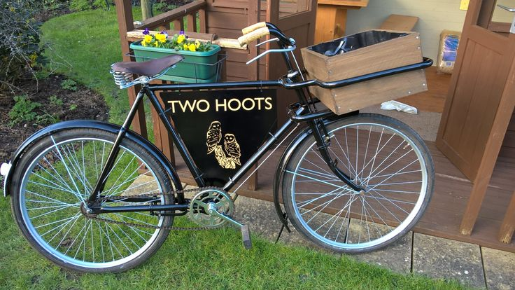 Sign for restored 60 year old butchers bike. Made from black aluminium composite with gold text