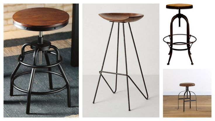 Unique Designs Of Bar Stools With Round Wood Tops And