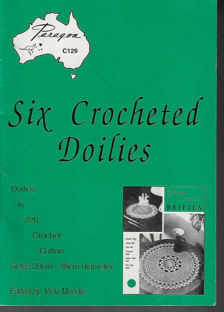 Six Crocheted Doilies Vicki Moodie Paragon C129 pattern book doily #Paragon