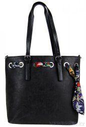 Černá vysoká kabelka na rameno se stylovým šátkem 656-BB