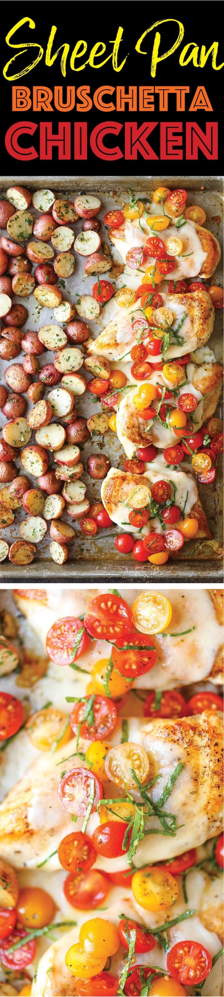 Quick, easy, and fresh sheet pan bruschetta chicken recipe. Looking for ideas and recipes for dinners and meals for families and kids? Boneless skinless chicken breasts pair with fresh tomatoes and potatoes for a simple one pan supper.
