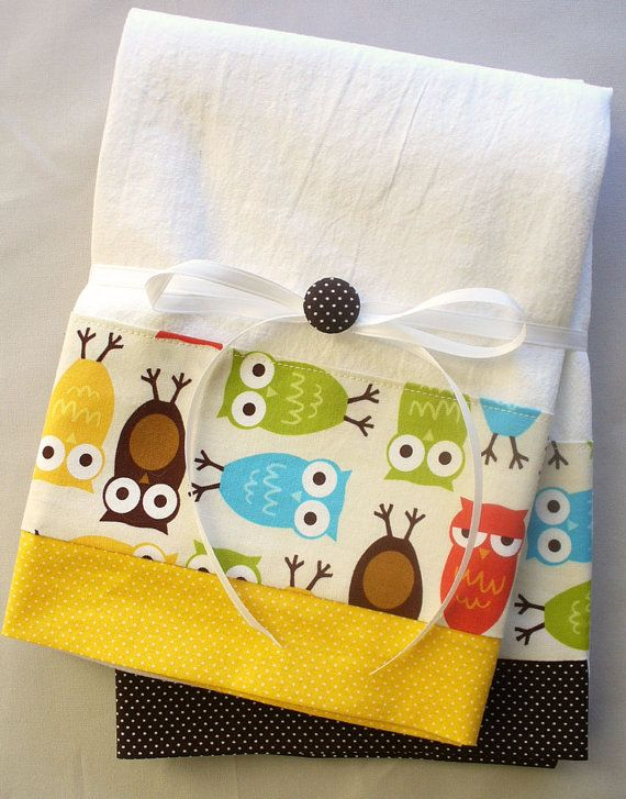 Kitchen Towels With Owl Pattern Cotton Fabric Accent   Set Of Two Flour  Sack Towels