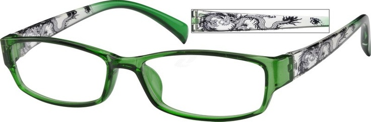 Symbolizing power, strength and good luck, the Chinese dragon pattern spans the temple arms of this flexible plastic full-rim frame. Zennioptical.com 257724