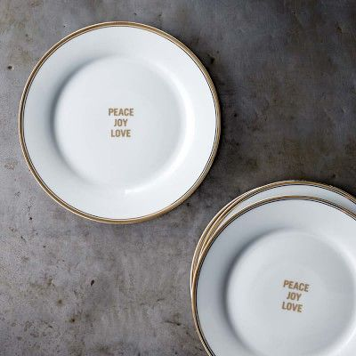 Williams-Sonoma Open Kitchen Peace, Joy & Love Salad Plates, Set of 4   #williamssonoma