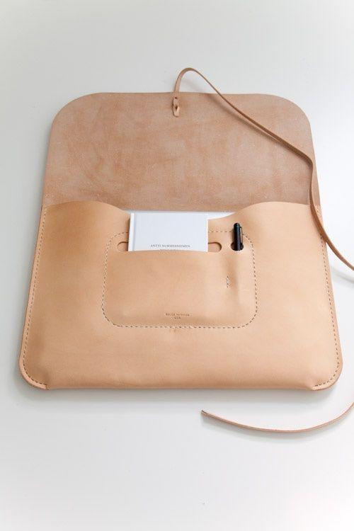 nude leather laptop case