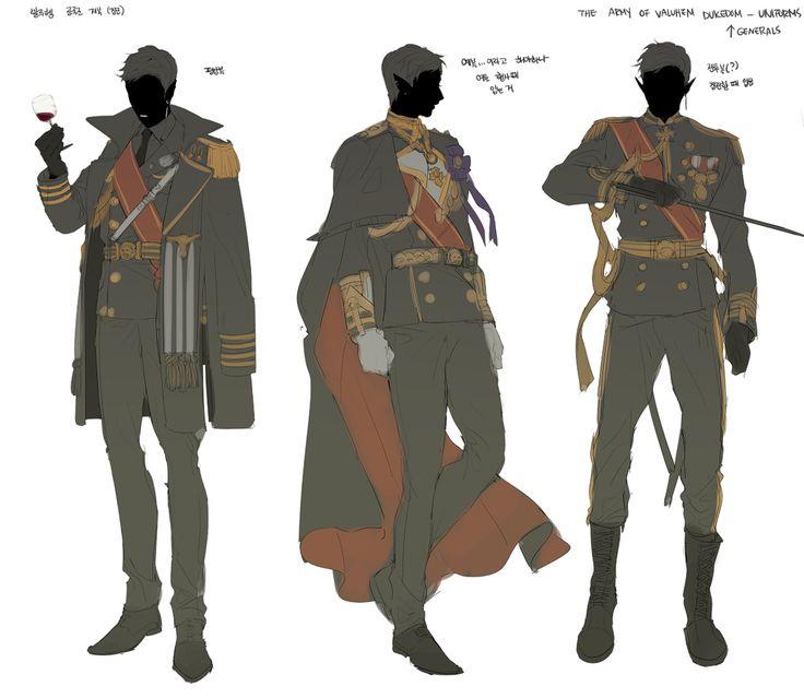 공국군 장군들이 입는 제복 디쟈인 스케치..^▽^여자들도 치마착용 가능한 점만 빼면 똑같은 디자인이라구합니당 언젠간 제대로 그려볼 수 잇게찌