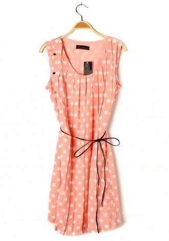 Polka Dot Ruffle Belt Sleeveless Chiffon Dress