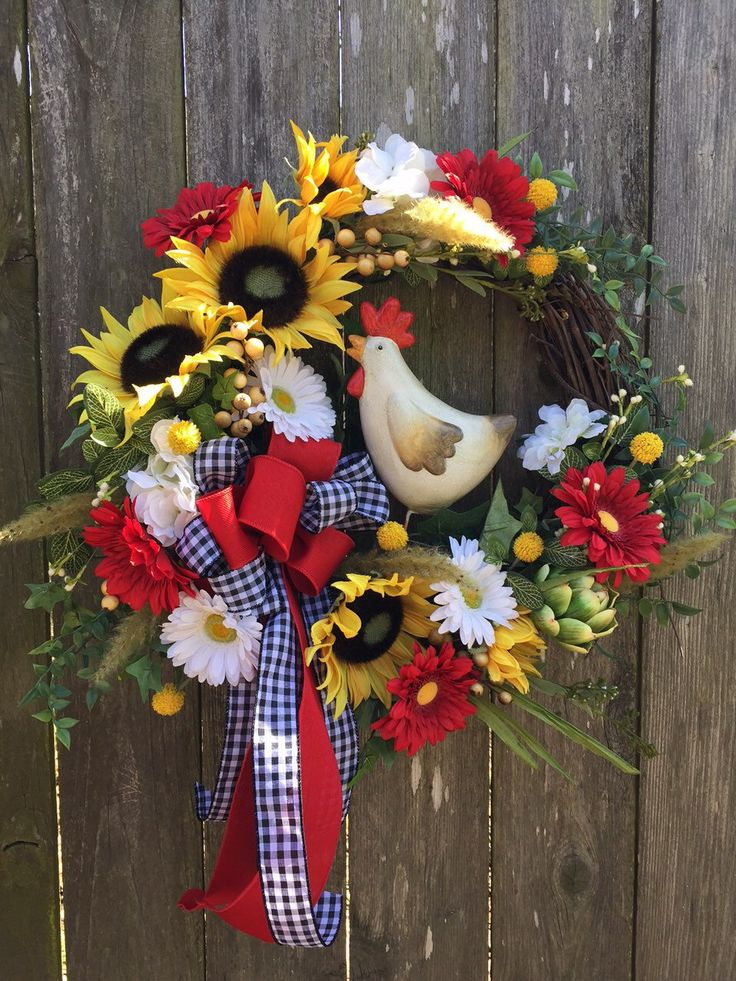 A personal favorite from my Etsy shop https://www.etsy.com/listing/272308208/rooster-wreath-sunflower-wreath-summer