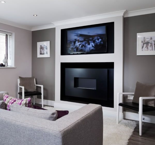 Decoflame Ellipse Flueless Fire: HOLE IN THE WALL WIDE-SCREEN FIRELINE WITH RECESS AND 50
