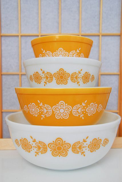 Vintage Pyrex. butterfly gold. My mom had these when we were younger.