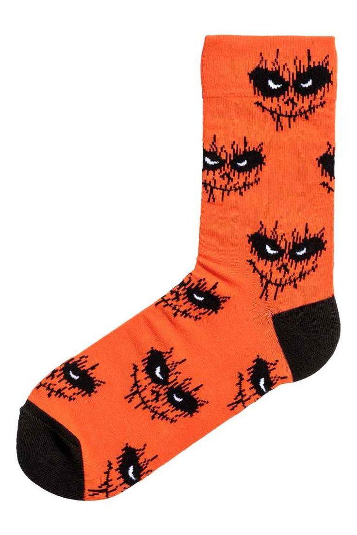 Jacquardgebreide sokken - Oranje/dessin - HEREN   H&M NL 1