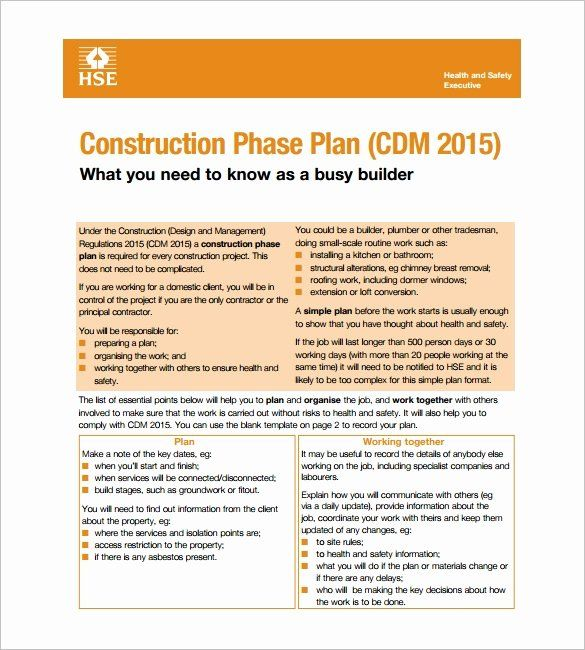 Construction Site Safety Plan Template Beautiful 11 Health And Safety Plan Templates Google Docs Business Plan Template Word Printable Lesson Plans How To Plan