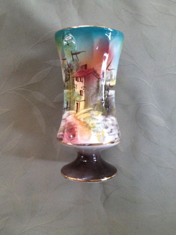 Portugal Hand Painted Vase 1970s 3030 by VisualaromasVintage