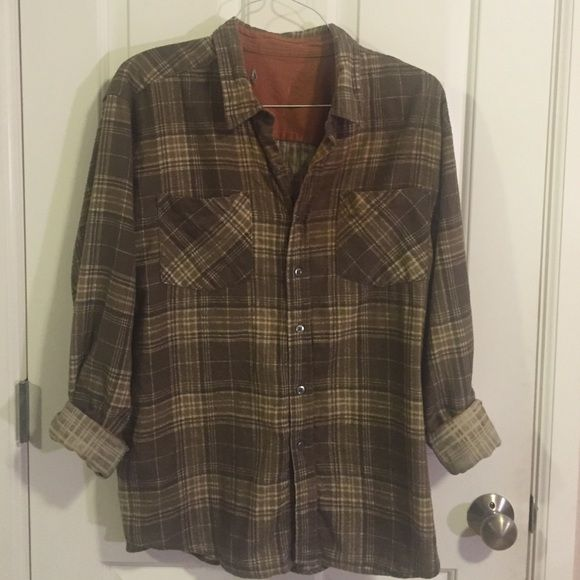 Vintage Men's Flannel Vintage olive green men's flannel Vintage Tops Button Down Shirts
