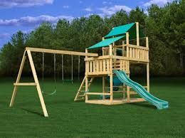 The Frontier is the newest addition to the Plan-it Play family of kits. This massive playset features two levels, one at 5 feet and the upper at 7 feet. The lower deck is 4ft. x 6ft. wide and the upper is 6ft. x 6ft. wide with 7ft. of head clearance. The playset is easy to modify and fit almost any slide combination. All of which are available through Plan-it Play.  Our patented two-piece swingbeam bracketing system makes installation quick and easy.  Approximate lumber cost $500