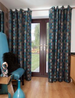 UK - Jasper Teal Eyelet Curtains