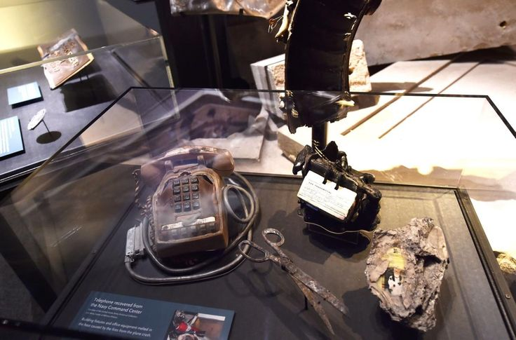 A charred telephone and other objects such as scissors were found after the 9/11 attack on the Pentagon.