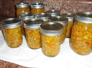 Zuchinni Relish – I made this and after the first 7 jars were filled, I added cayenne pepper to the remaining relish.  Now I have