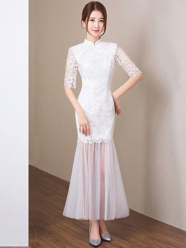 Maxi Lace Qipao / Cheongsam Dress with Ruffle Mesh Hem