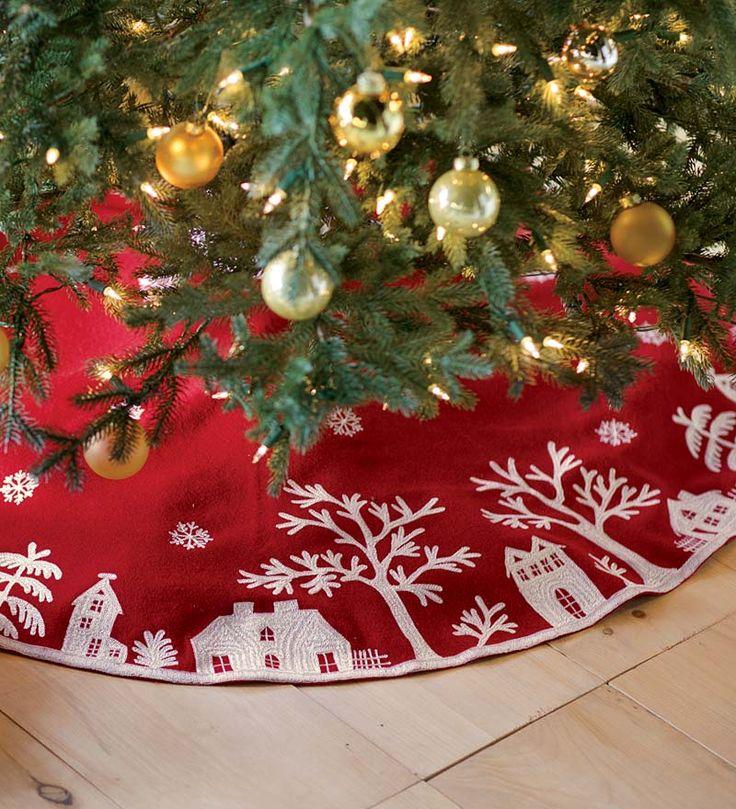 Embroidered Village Scene Tree Skirt