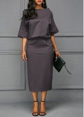 Batwing Sleeve Grey Boat Neck Dress | Rosewe.com - USD $31.74