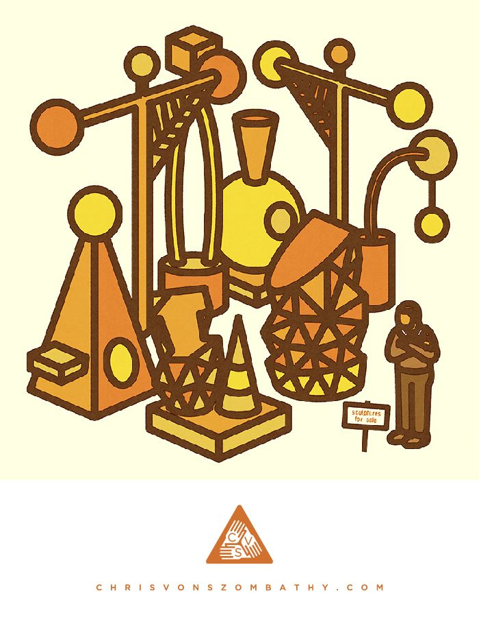Sculptures for Sale, an illustration by artist/designer Chris von Szombathy.