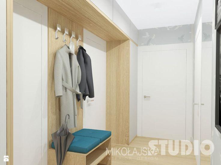 hall, korytarz, przedpokój, jasny, pastelowy, drewno - zdjęcie od MIKOŁAJSKAstudio - Hol / Przedpokój - Styl Skandynawski - MIKOŁAJSKAstudio