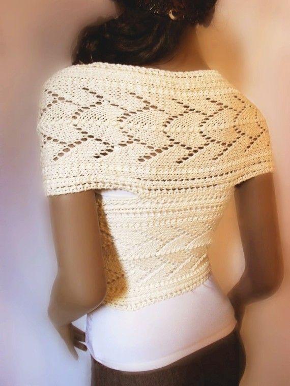 Bio-Baumwolle Womens Hand gestrickten Pullover Weste Lace stricken Off White Wrap Sweater, vielen Farben erhältlich