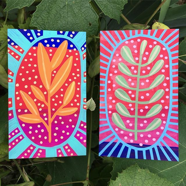 Days 18 & 19 Index Card a Day . I'm loving how vibrant these are. Devoted to plants and color. . #dyicad2017 #dyicad #indexcardaday