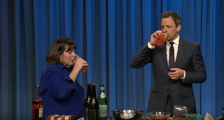 Last night on Late Night with Seth Meyers, Ina Garten made a very special guest appearance. She was there to promote her new cookbook, Cooking for Jeffrey, and to show Seth Meyers how to make a proper cheese plate. Their time together — short, but sweet — started off with Meyers proclaiming how jealous he was of Jeffrey, and ended with the two laughing like hyenas over cheese.