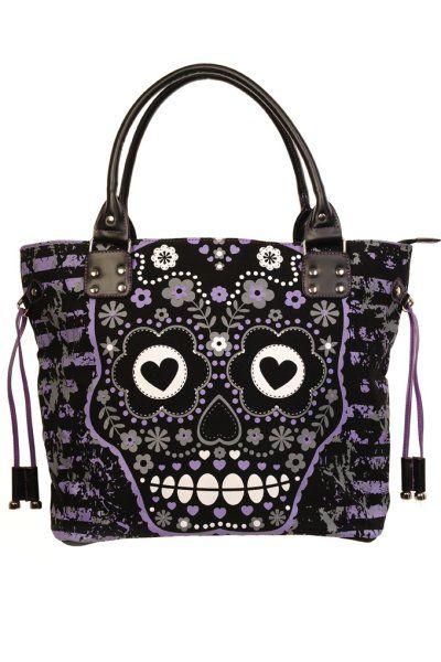 GOTH - Purple Candy Skull Black Canvas Handbag by Banned   Gothic