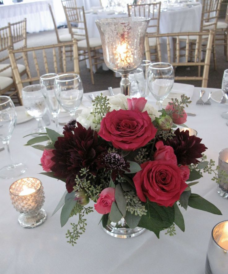 Burgundy and raspberry flowers silver bowl centerpiece