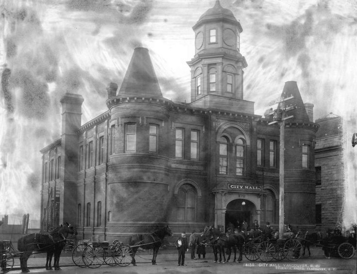 City Hall, 1901  425 Westminster Avenue, the northwest corner of what's now Main and East Pender, looking kind of spooky. It must've been October.  Source: Photo by Richard H Trueman, City of Vancouver Archives #City P47