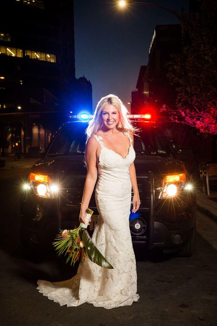 Police car bridal photos. Runaway bride. « In Your Eyes Photography.  Austin Texas Wedding Photographers.  inyoureyesphotography.com