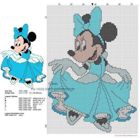 Disney Minnie Principessa Cenerentola schema punto croce