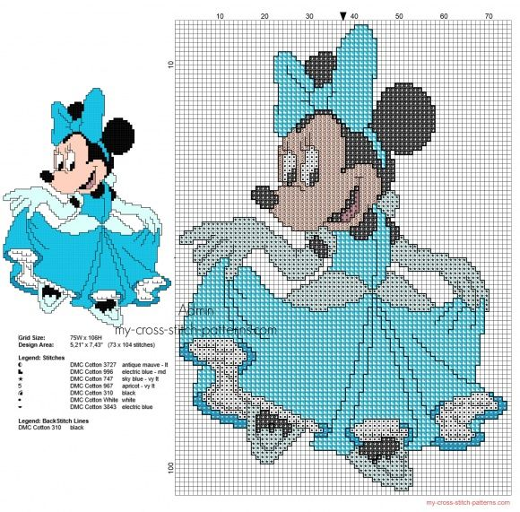 Disney Minnie Mouse Princess Cinderella cross stitch pattern