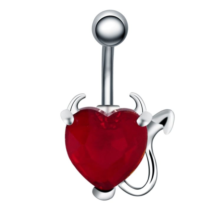 1pc Surgical Steel Belly Button Rings 14G Zircon Crystal Devil Heart Navel Piercing Sexy Body Jewelry Pircing Ombligo Nombril