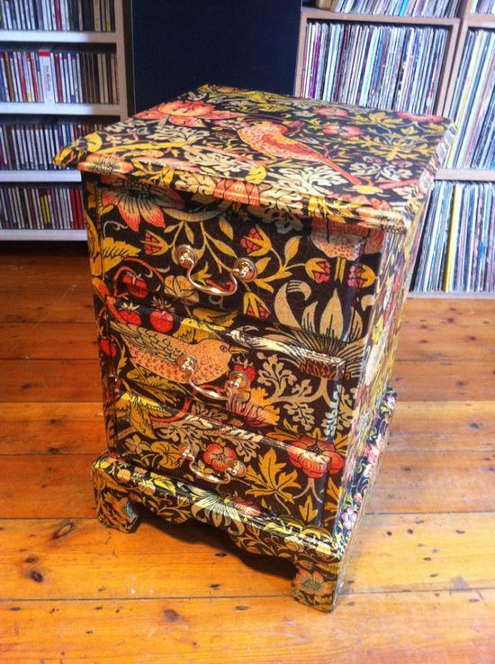 so cool and the detail!...decoupage drawers furniture morris (2) I like the paper but I would use less paper, to make calm it down