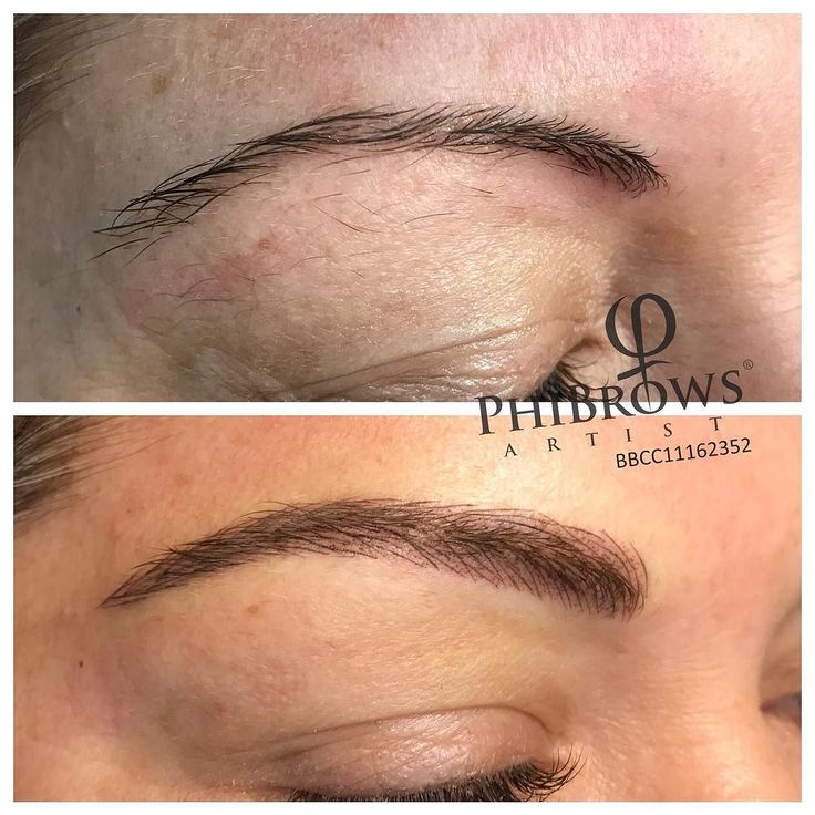This is what a combo method of brow tattoo looks like for Powder eyebrow tattoo