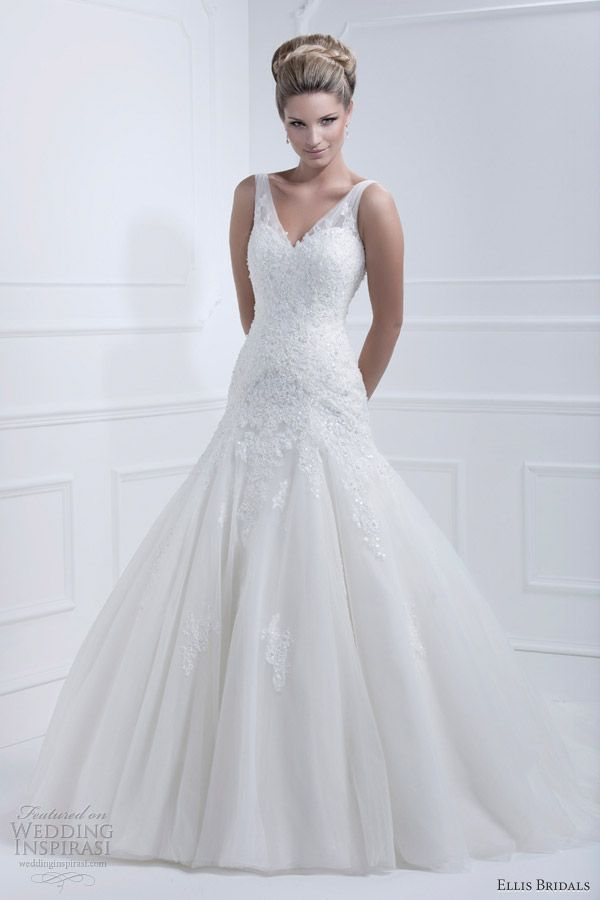 style 11364 fit and flare tulle gown with beaded lace applique and sheer tulle straps.