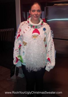 Bonnie Mcintosh from Ottawa, Canada submitted this outstanding photo of a truly epic ugly Christmas sweater, featuring what may be the largest Santa beard we've ever laid eyes on. We like the accen...