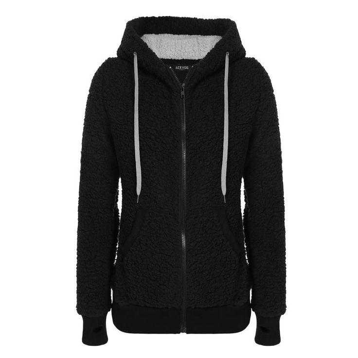 Women Winter Hoodies, Warm Fleece Zipper Up Hoodie, White, Coffee, Beige, Black