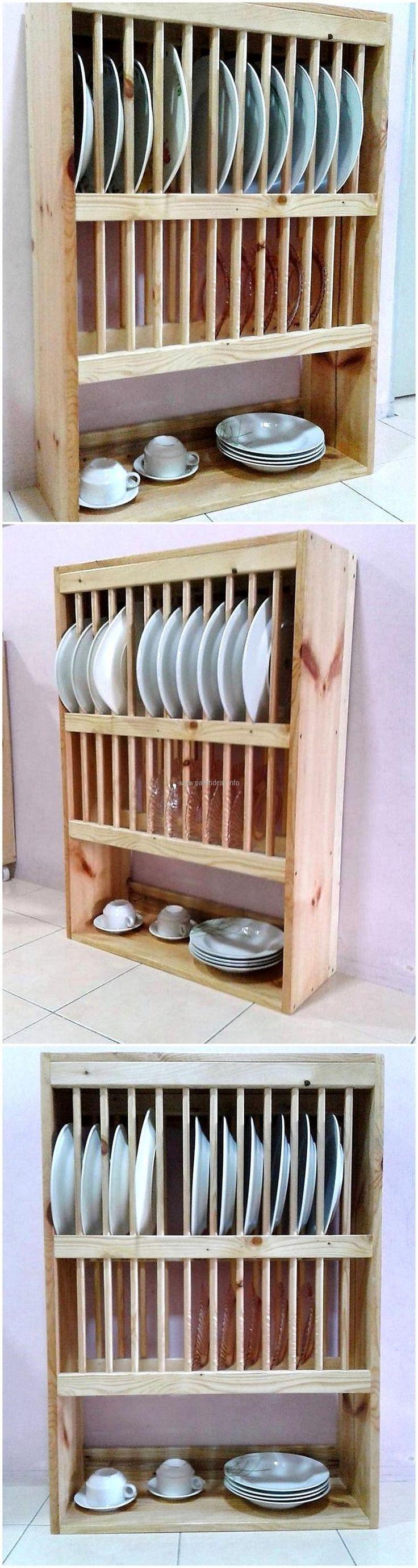 wood pallet kitchen plates shelves
