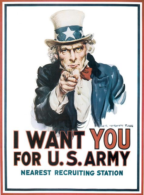 """One of the most famous propaganda posters, """"I Want You"""" featuring Uncle Sam, was originally used in WWI."""
