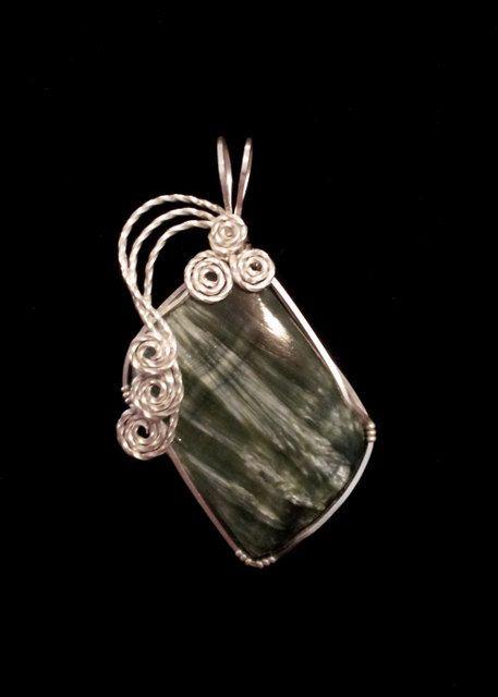 Seraphinite Cabochon Handmade Wire Wrapped Pendant