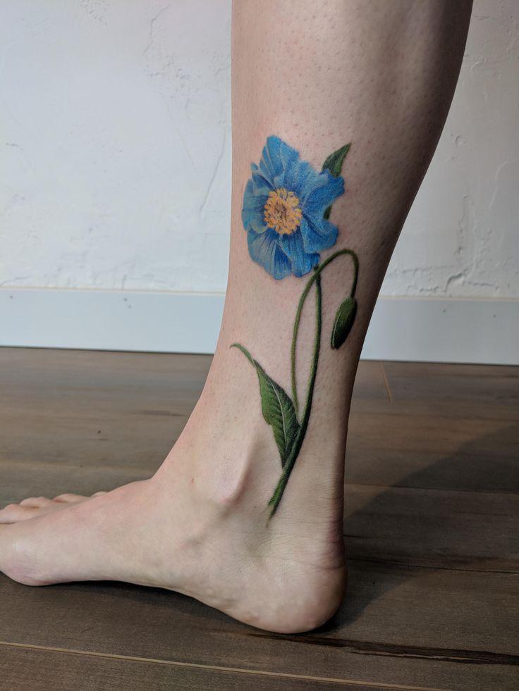 Himilayan blue poppy by grey francis at trillium tattoo
